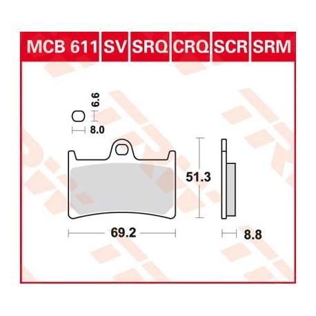 Bremsbeläge TRW MCB611 SCR passend für Yamaha R1 und R6 komplett vorne